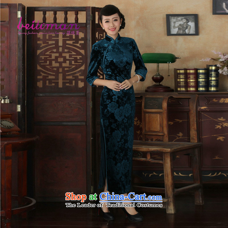 Mrs Ingrid Yeung economy Overgrown Tomb New Pure Color Chinese elastic Kim long wool collar manually Tang Dynasty Sau San qipao detained dresses blue燬