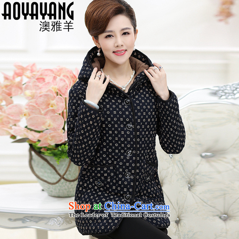 Mano-hwan's 2015 winter clothing in the new Elderly Women plus lint-free cotton waffle warm MOM pack elderly with cap cotton coat jacket�930 navy blue燲L