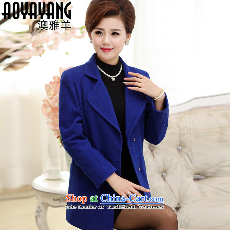 Mano-hwan in older women's autumn and winter new large middle-aged ladies casual windbreaker. Long hair?�64 Sau San jacket blue�L