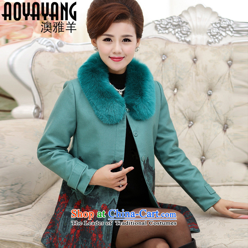 Mano-hwan's 2015 new middle-aged female replacing Fall_Winter Collections a casual jacket in mom long large wool coat�62? LAKE�L blue