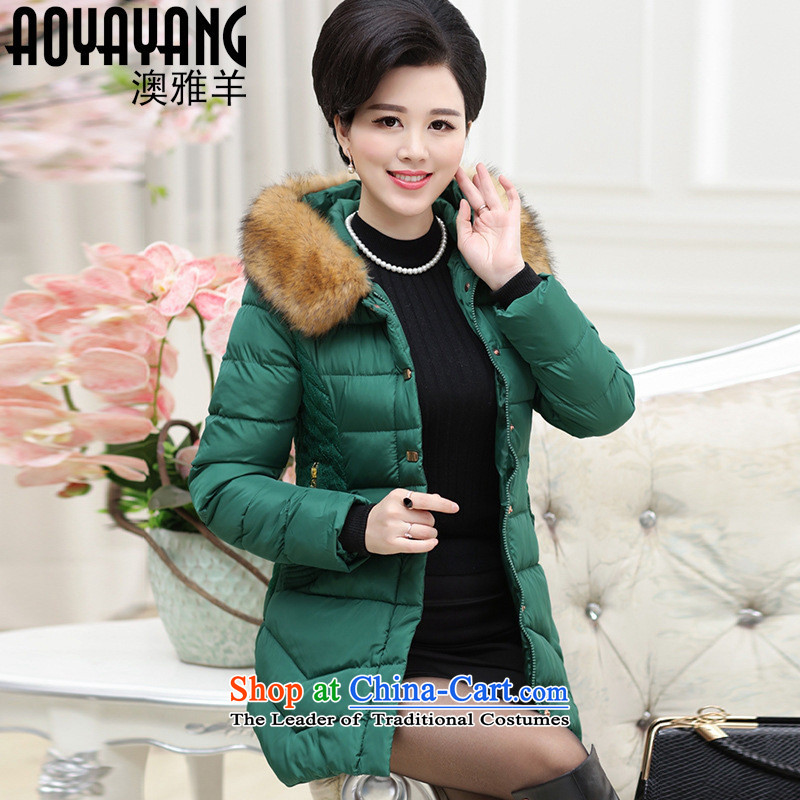 Mano-hwan's 2015 winter new mother in long coat in the number of older women's thick hair collar cap women cotton coat�07 Black�L