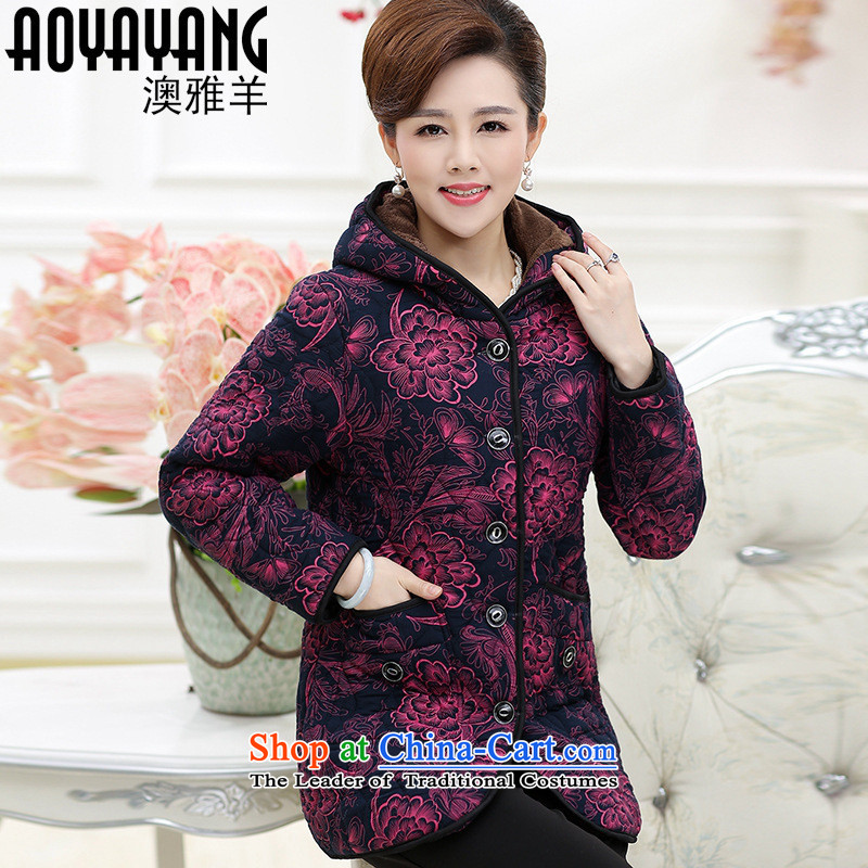 Mano-hwan's 2015 winter clothing in the new Elderly Women plus lint-free cotton waffle warm MOM pack elderly with cap cotton coat�34 mauve�L Jacket