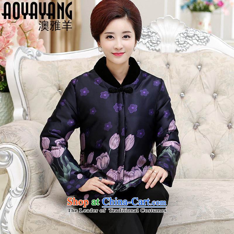 Mano-hwan in older mother boxed 2015 winter new thick cotton clothing female stamp older persons Women warm robe燛6836�L Purple