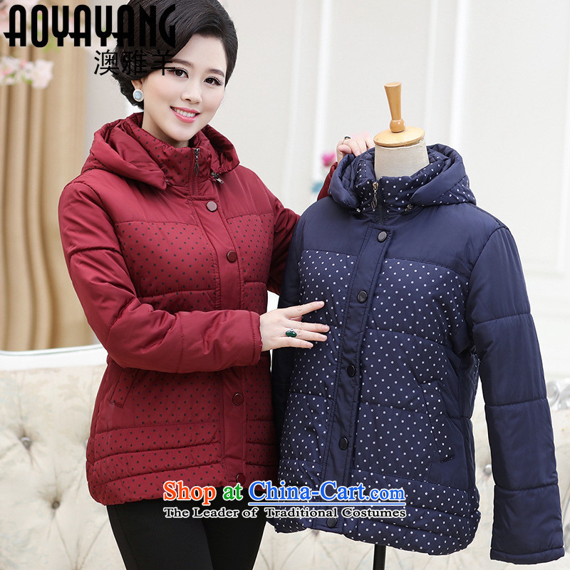 Mano-hwan's 2015 winter clothing new cotton coat of older women's Coat cap Sau San jacket middle-aged women's clothes robe�00 wine red�L