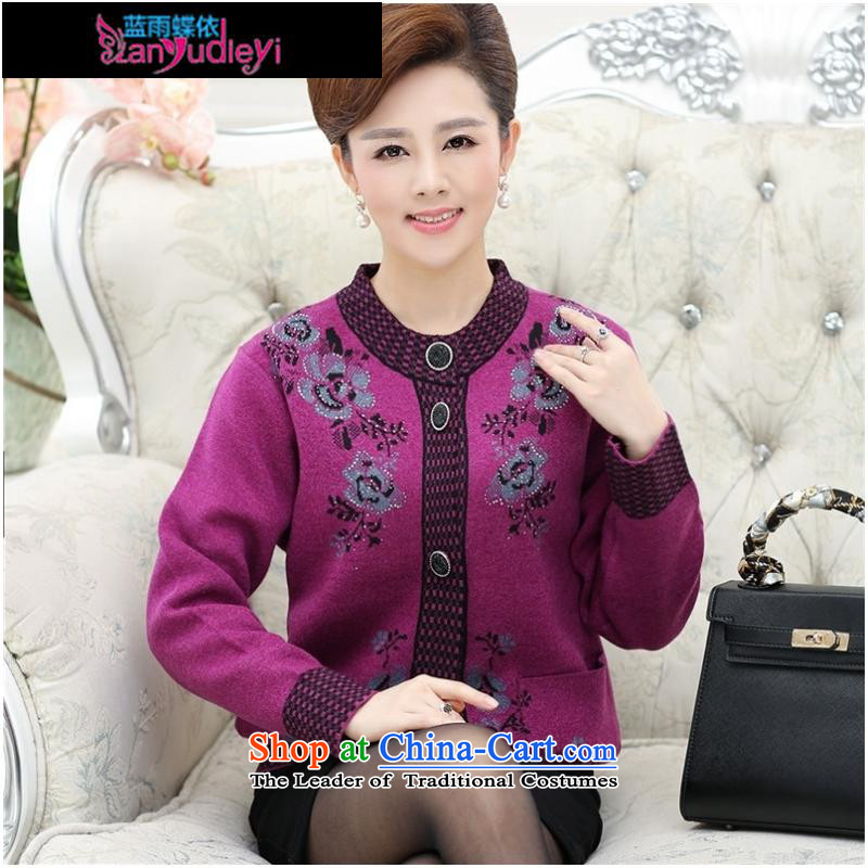 September female boutiques in older women's _ thick sweater cardigan jacket Fall_Winter Collections round-neck collar pockets with larger knitted mother woolen sweater, Cheong Wa燲L