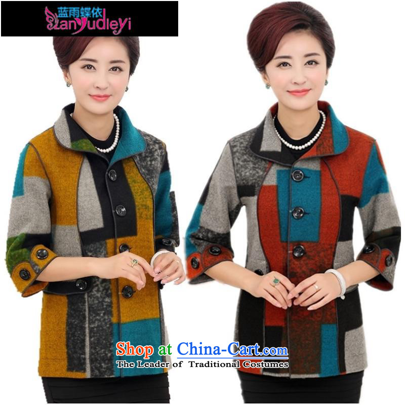 September female boutiques in older autumn _2015 jackets of 7 to a T-shirt-sleeves for larger mother replacing Fall_Winter Collections middle-aged female replacing latticed red 5XL