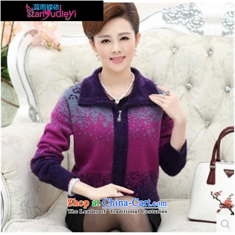 September female boutiques in older women's _ autumn and winter coats loose mother replacing autumn replacing large cardigan thick sweater older persons T-shirt purple聽L