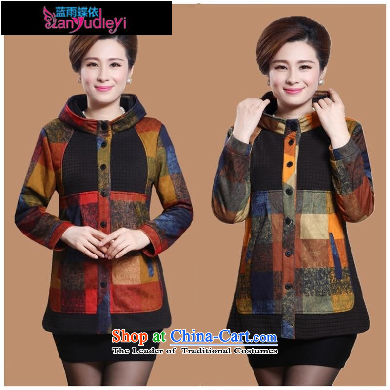 September female boutiques in older women's *2015 autumn and winter jackets for larger windbreaker elderly mother replacing autumn casual jacket coat?3XL Wong Grid