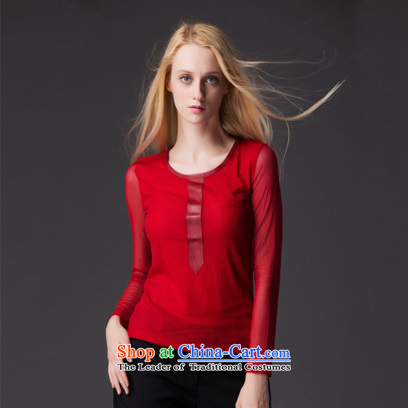 The European station 2015 Autumn Hami load new larger women wear shirts gauze spell Leather Slim, Sau San video thin long-sleeved T-shirt red燣