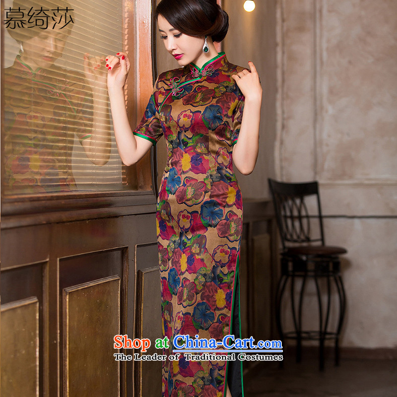The Windsor is an cross-聽loading autumn 2015 silk yarn qipao improvements cloud of incense of nostalgia for the improvement of qipao dresses female classical Chinese Dress聽HY6091聽tea color聽2XL