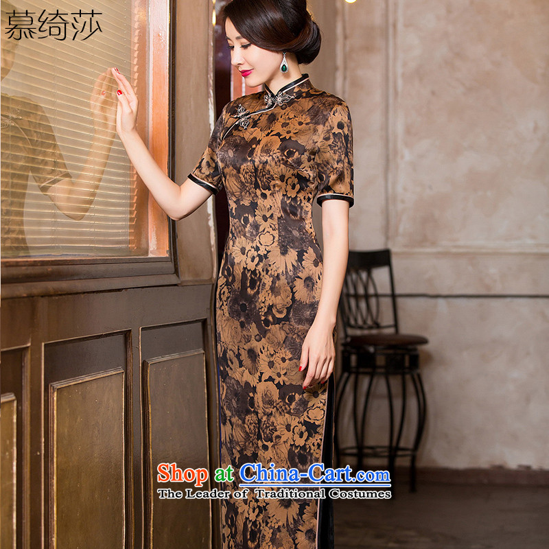 The cross-sa and the heart of the new classic incense cloud yarn silk cheongsam dress retro improved cheongsam dress Chinese dress in long long qipao?HY6092?tea color?L