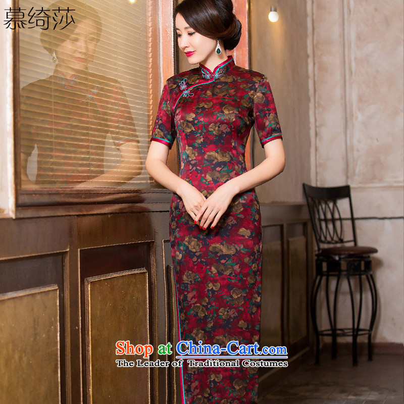 The cross-SA-Hung Yun?2015 retro Silk Cheongsam in cloud of incense yarn long improved cheongsam dress female long gown?HY6093 CHINESE CHEONGSAM?picture color?L