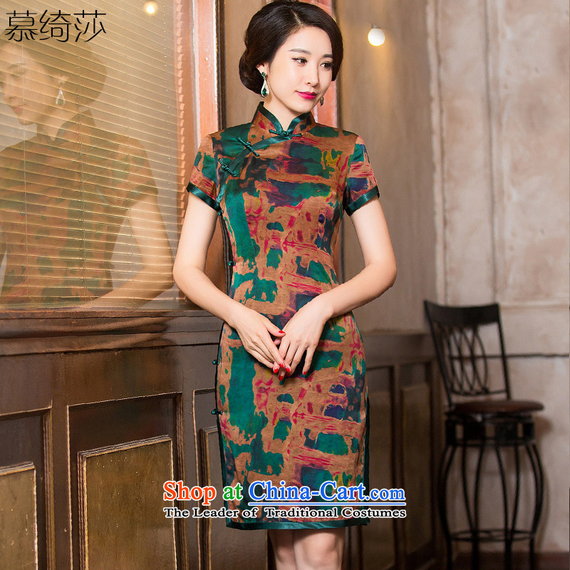 The cross-sa muhua�15 Silk Cheongsam autumn cloud of incense yarn with improved cheongsam dress Chinese dress of ethnic women燞Y6112燽rown�L
