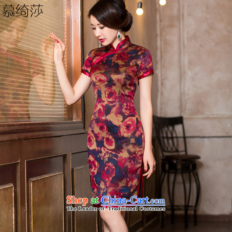 The cheer her camellias聽2015 silk cheongsam dress cloud of incense yarn with new classical Autumn Chinese Dress cheongsam dress female聽HY6113聽dark red聽L