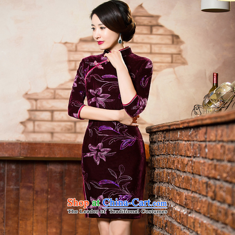 Dan breathing new for women collar Stretch Wool embroidery on chip retro style qipao and improvement of 7 cuff qipao skirt聽305 L