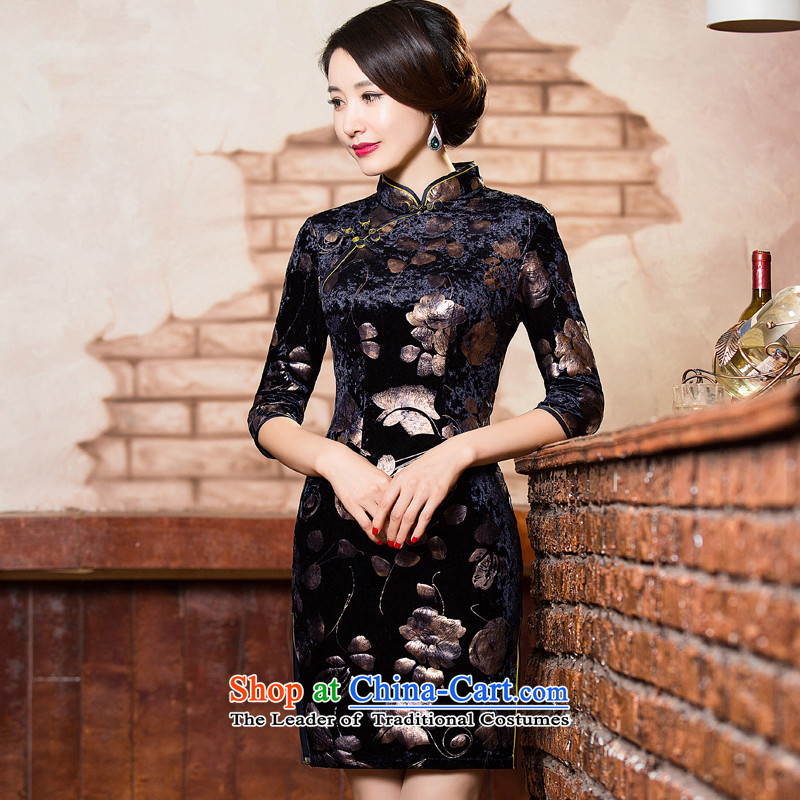 Floral autumn and winter female daily retro Kim scouring pads, improvement of qipao short of 7_cheongsam dress�L 302