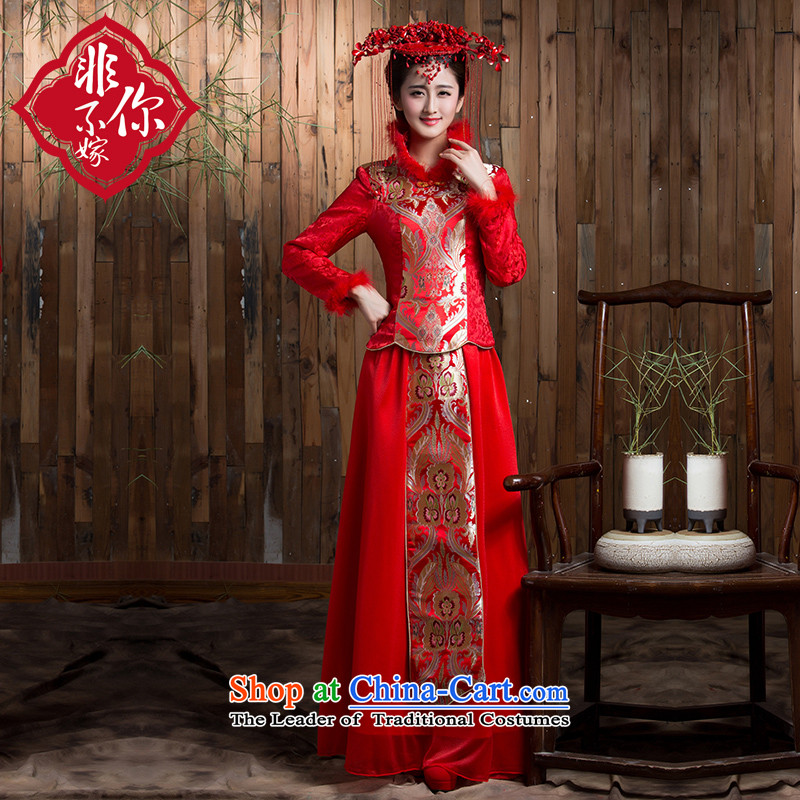 Non-you do not marry?2015 new bride gross for long-sleeved red retro autumn and winter cheongsam wedding bows services for larger long skirt back door onto Red?L