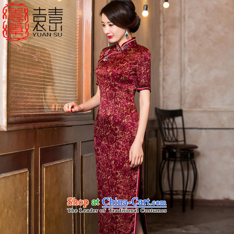 Yuan of intelligent聽2015 Silk Cheongsam autumn cloud of incense yarn with classical Chinese Dress heavyweight silk cheongsam dress in long聽HYX6090聽RED聽XL