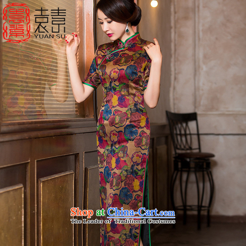 Mr Yuen Wah�2015 Autumn modesty jar cloud yarn qipao skirt new heavyweight Silk Cheongsam improvement of Chinese antique dresses long�HYX6091�TAN�XXL