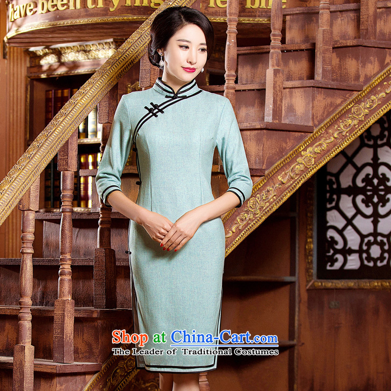 Dan smoke autumn and winter new women's Chinese improved collar elegant qipao retro hair?   7 cuff qipao skirt Figure Color聽XL