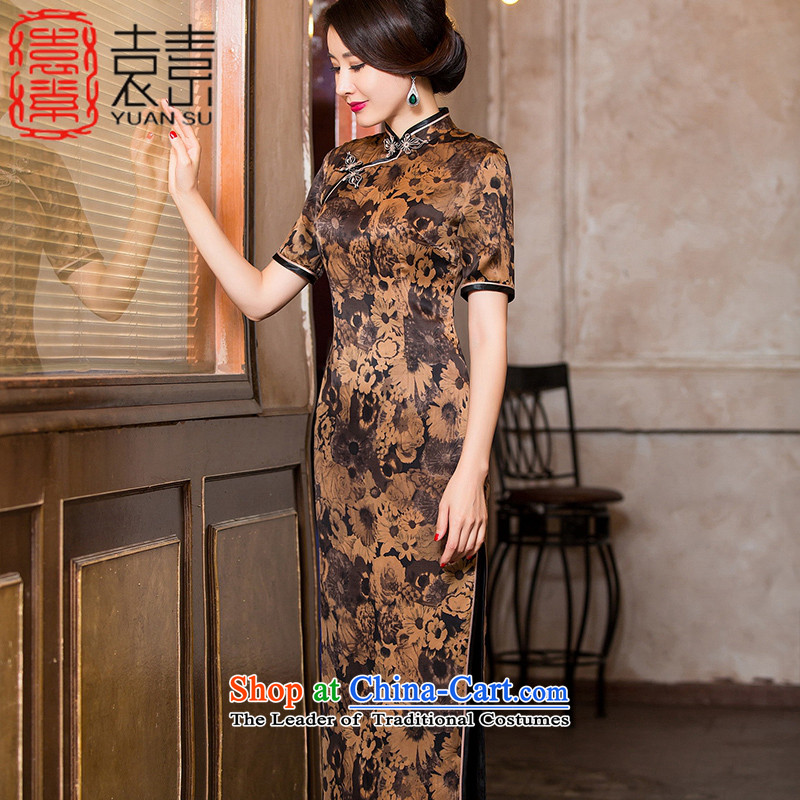 Yuan of solid new Silk Cheongsam autumn cloud of incense yarn with improved cheongsam dress female Classical China wind women of ethnic dress?HYX6092?TAN?XXL