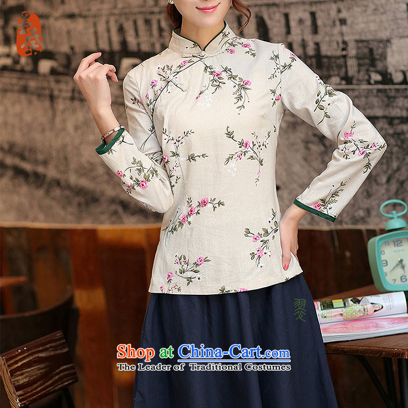 The qin designer original female hand-held a mock-neck piping long-sleeved improved cotton linen CHINESE CHEONGSAM Tang blouses mq1105005 day lilies in a M