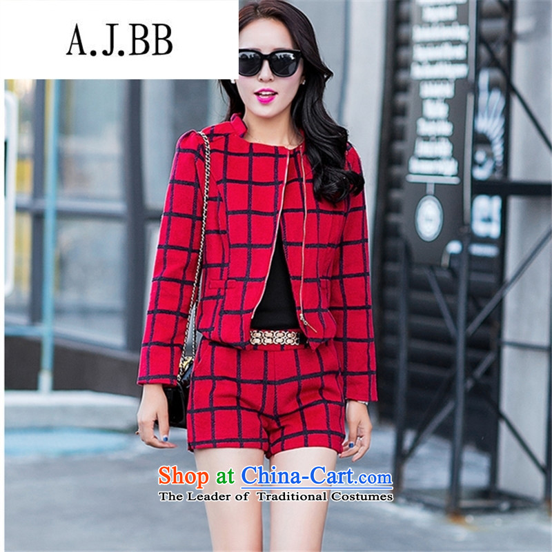 Memnarch �� Connie Shop 2015 autumn and winter new long-sleeved T-shirt will suit small gross Korean checked shorts two kits female RED?M