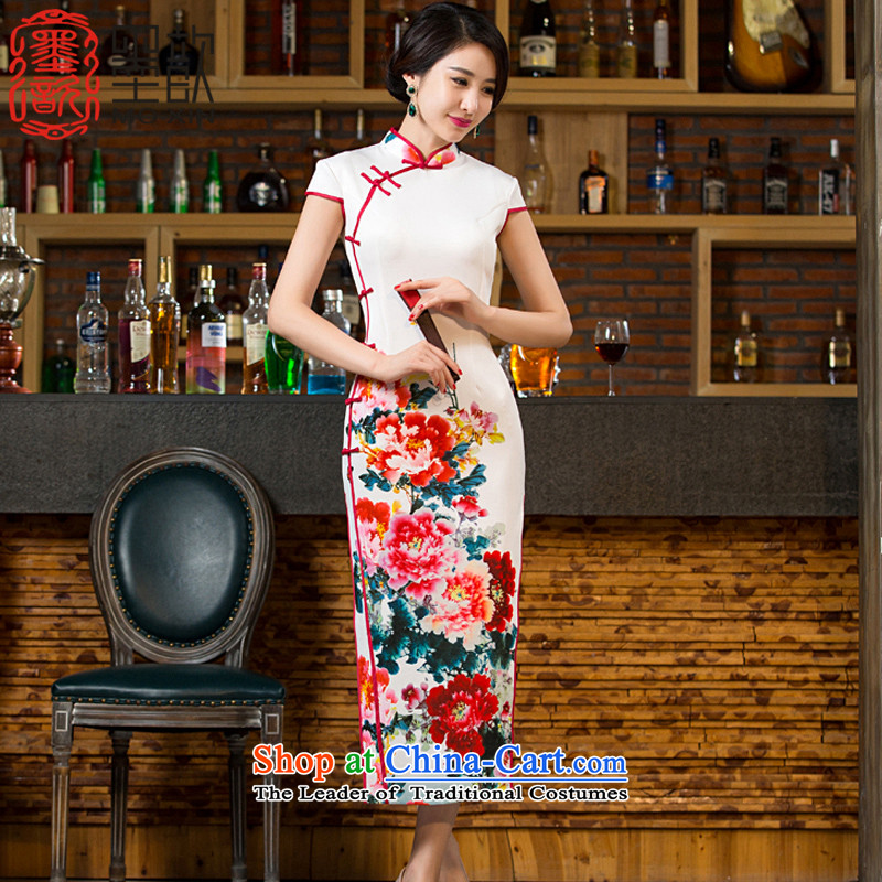 The?2015 Hong Kong looks forward to new � cheongsam dress autumn). long double long cheongsam look stylish retro improved cheongsam dress?M12038?white?S