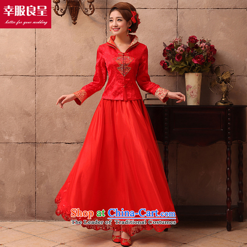 The privilege of serving the bride-leung wedding dress qipao Chinese wedding dress bows services 2015 new autumn and winter red retro winter long dress?2XL
