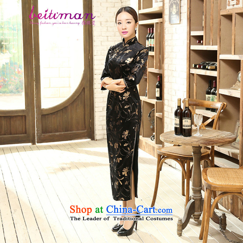 Mrs Ingrid Yeung economy Overgrown Tomb new women's classical Chinese qipao Tang Dynasty Stretch Wool collar manually Kim detained seven long-sleeved cheongsam dress figure聽L