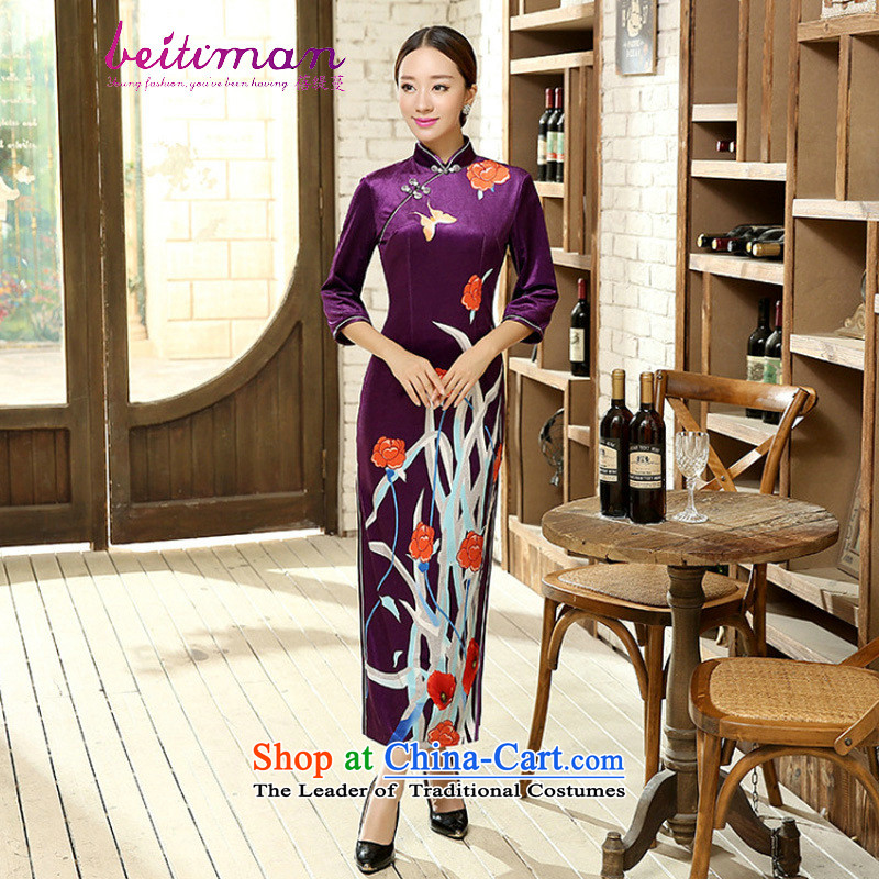 Mrs Ingrid Yeung as Overgrown Tomb Tang dynasty qipao positioning poster Stretch Wool qipao seven gold cuff聽T0009聽聽XXXL Figure