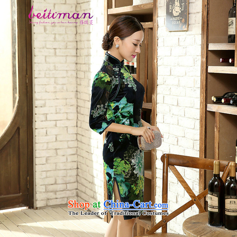 Mrs Ingrid Yeung economy Overgrown Tomb female elegant beauty really scouring pads in the collar short-sleeved manually detained cheongsam dress聽 TD0052聽figure聽XL