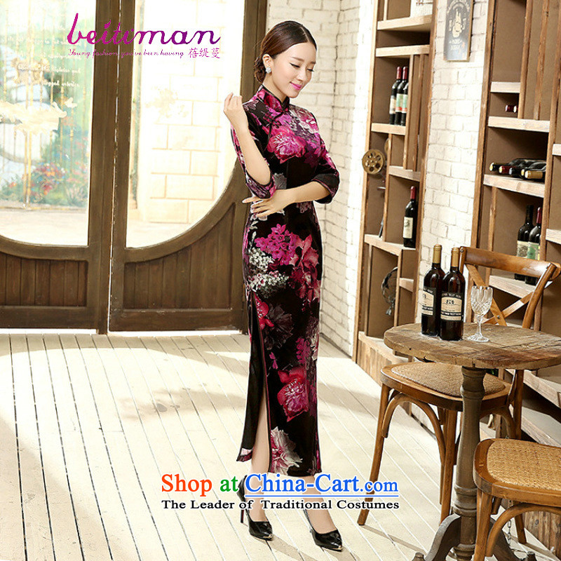 Mrs Ingrid Yeung economy Overgrown Tomb Tang dynasty women 7 cuff qipao improved stylish collar manually detained Stretch Wool long qipao Kim dresses?T0011 M