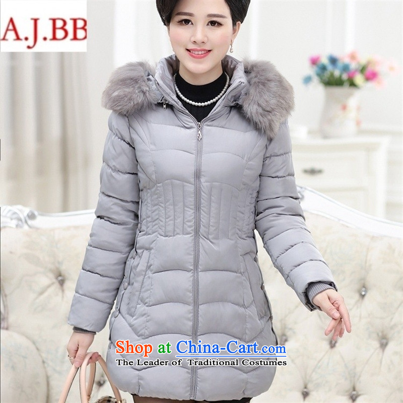 Orange Tysan _2015 middle-aged female new_ thick hair with cap for pure color in the Sau San long coat cotton coat jacket green XXL