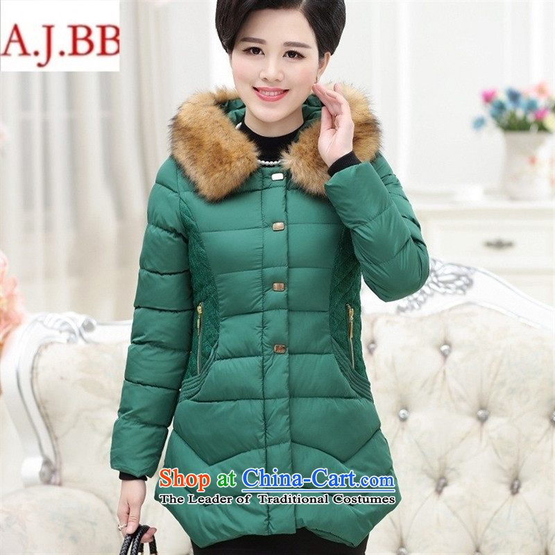 Orange Tysan *2015 in older women's new thick hair with cap for Sau San warm in long coat cotton coat jacket black?4XL