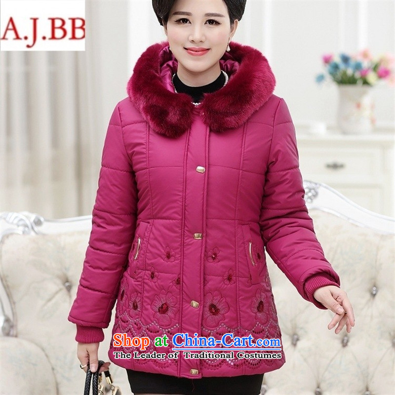 Orange Tysan _2015 in older women's new coated fabric collar thick embroidery zipper gross buckle MOM pack cotton jacket red聽XL