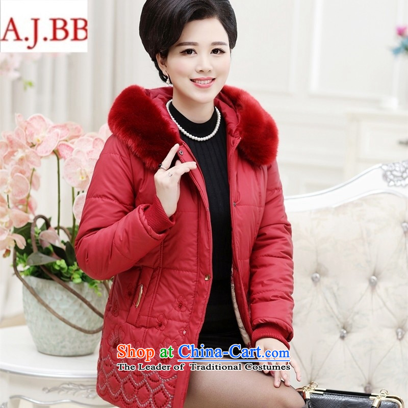 Orange Tysan *2015 in older women's new coated fabric collar thick embroidery zipper gross buckle MOM pack cotton jacket red聽XL,A.J.BB,,, shopping on the Internet