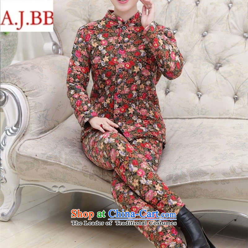 Orange Tysan *2015 in older women's new stamp stylish mother blouses, lint-free cotton pants thick plus kit dark blue XXL