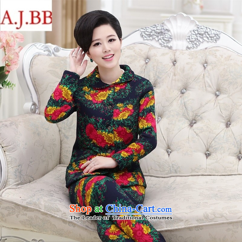 Orange Tysan *2015 in older women's new stamp stylish mother blouses, lint-free cotton pants thick plus kit dark blue聽XXL,A.J.BB,,, shopping on the Internet