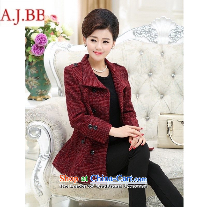 Orange Tysan _ Mother load new products fall cardigan older persons in older women's sweater large long-sleeved jacket thick 5302 wine red XL