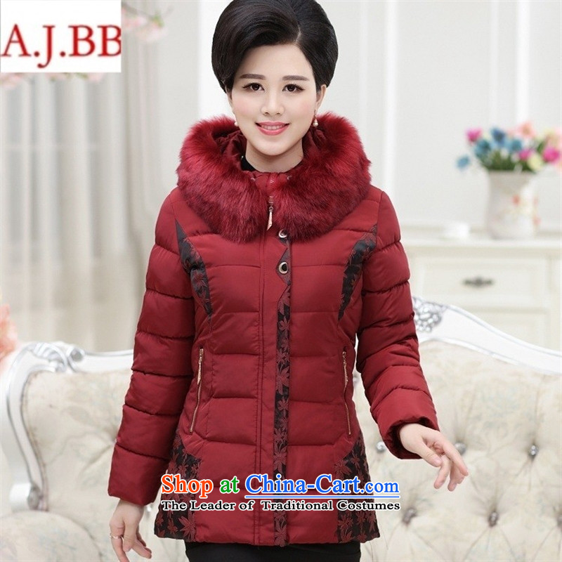 Orange Tysan _2015 in older women's new thick with cap embroidered quilts for gross MOM pack 茫镁貌芒 cotton coat jacket, wine red聽XXL