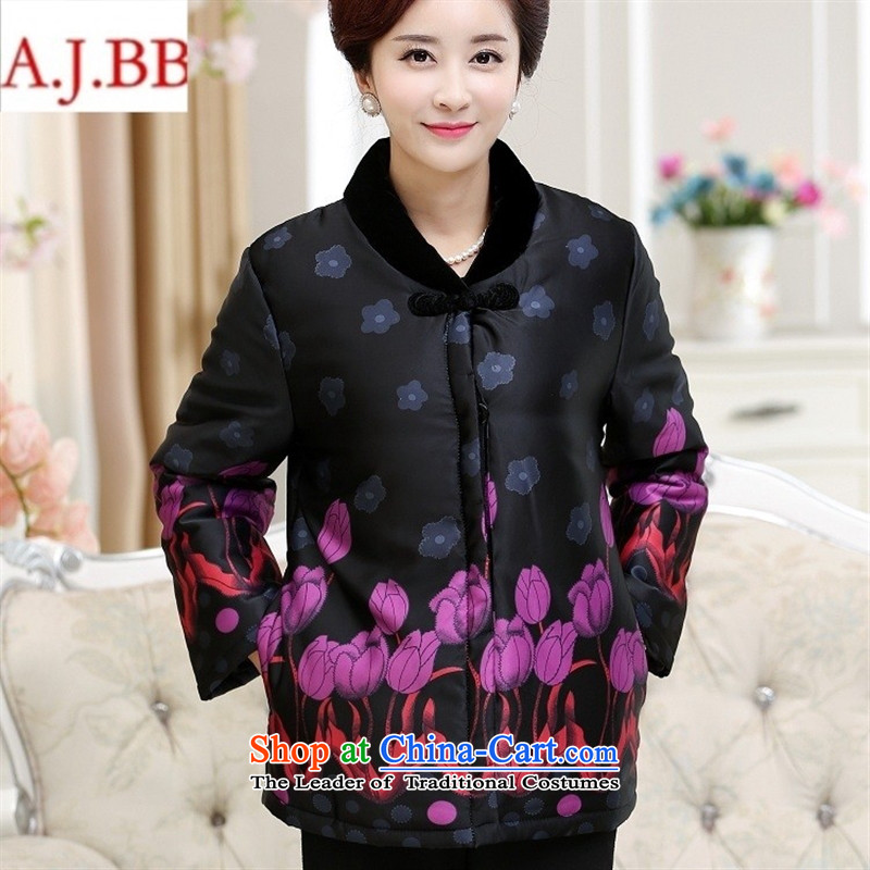 Orange Tysan _2015 in older women filling cotton feather collar niba flower stamp pocket clip cotton stealth cotton coat jacket red XL