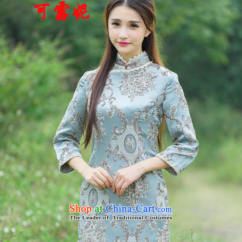 Ruth autumn 2015 Flower Palace Connie heavyweight click of flower embroidery is pressed longer embroidery cheongsam dress up the clip picture color manually?XL