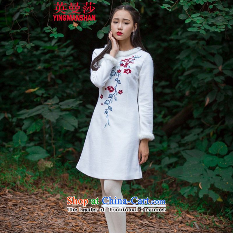Ingman Elisabeth autumn and winter new retro hair clip Sau San embroidered dress 5187-7 white燣