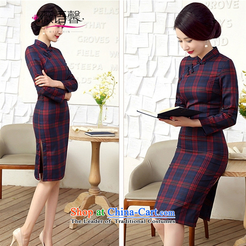 Optimize the bell shop cheongsam 2015 new autumn and winter long long-sleeved arts latticed cheongsam dress republic of korea retro dresses autumn燲XXL red
