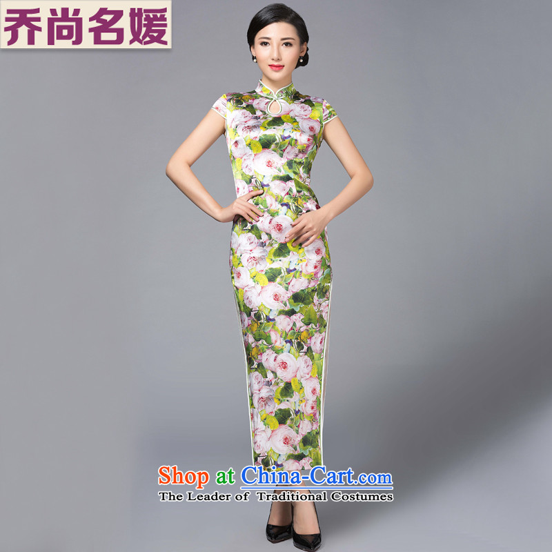 Joe was aristocratic heavyweight Silk Cheongsam long improved banquet high on's CKZS011 GREEN聽XXL