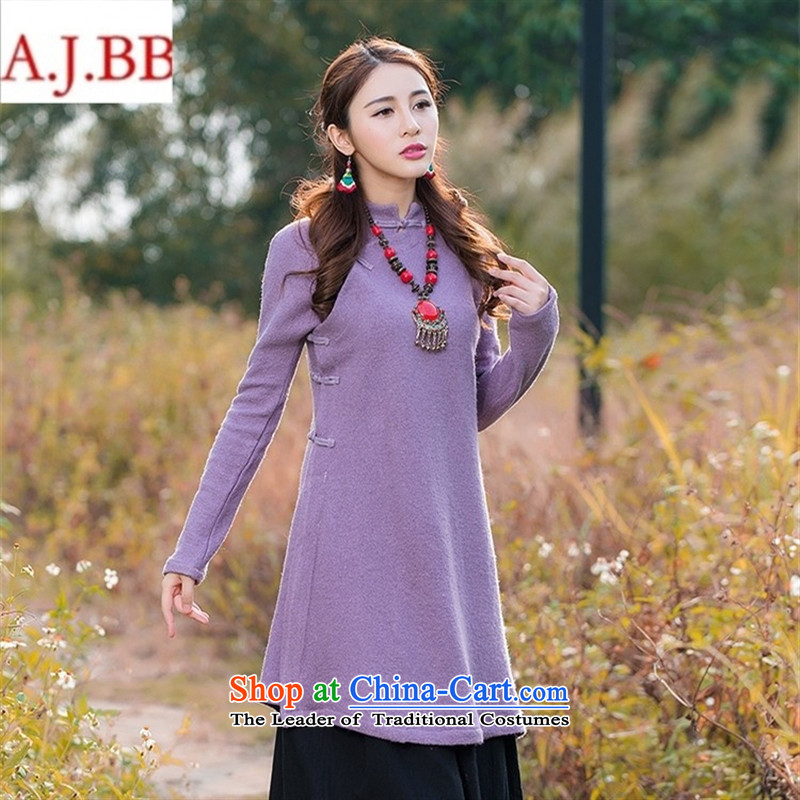 Orange Tysan *NT9345 arts van 2015 autumn and winter tea services retro-collar is pressed to tie in long sleeves shirt cashmere female ma natural�S