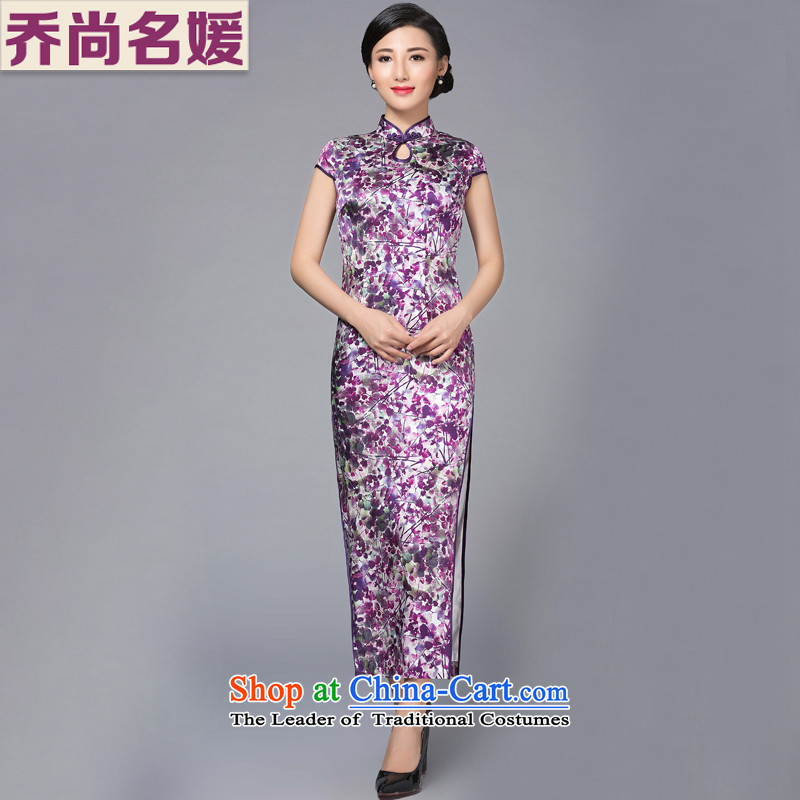 Joe was aristocratic banquet long heavyweight Silk Cheongsam high on the forklift truck improved purple stamp CKZS012 PURPLE聽L