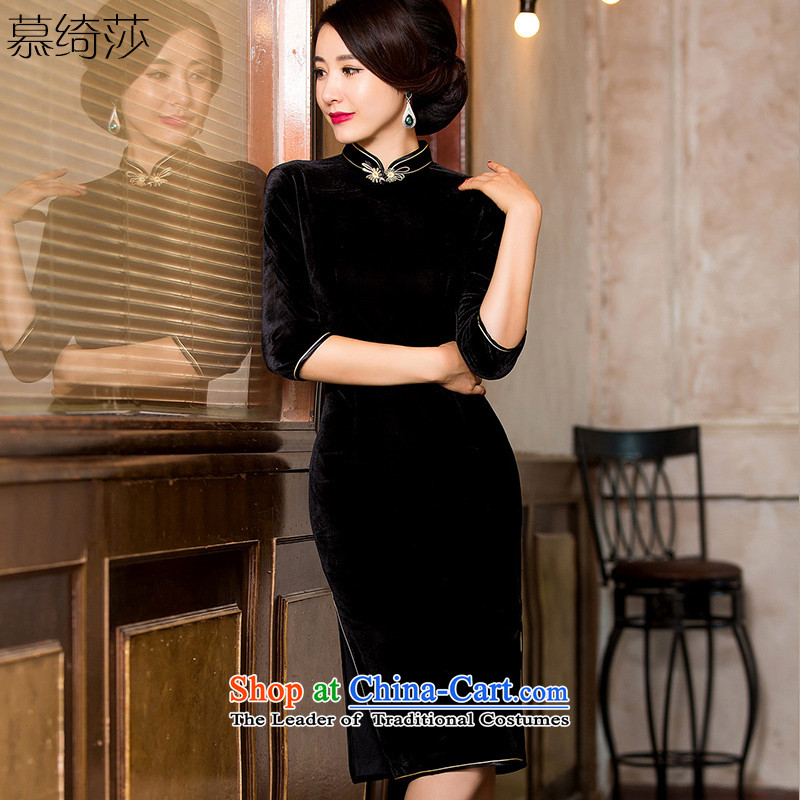Statements were made by the cross-sa Doi autumn and winter velvet cheongsam dress in long gown temperament of solid color Sau San cheongsam dress?7021A HY??2XL Black