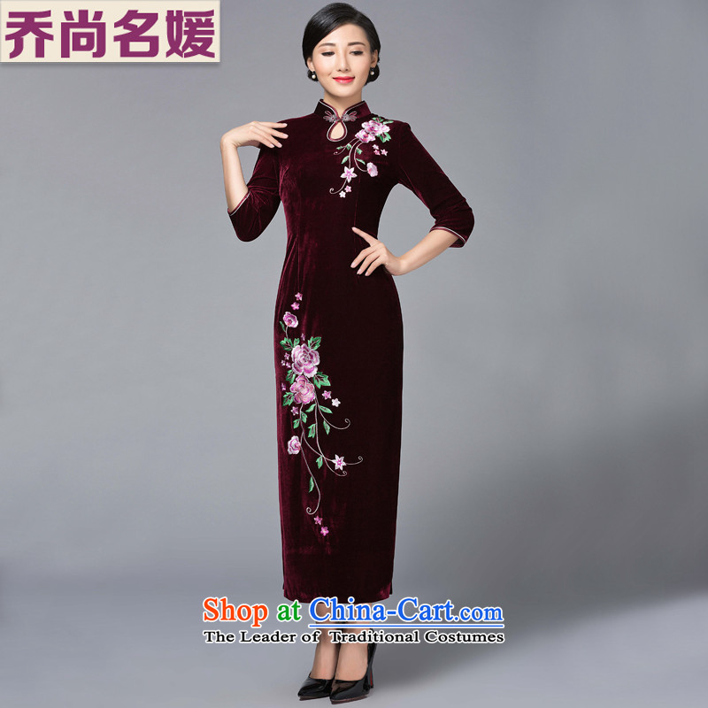 Joe was aristocratic Kim scouring pads embroidered banquet、Qipao Length of autumn and winter retro Tang dynasty SRXH008 wine red?XL